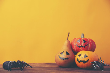 Halloween pumpkin, vintage filter image
