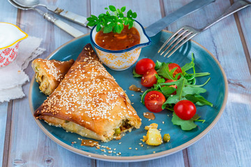 Giant chicken samosas with mango chutney and fresh salad, sprinkled with sesame seeds