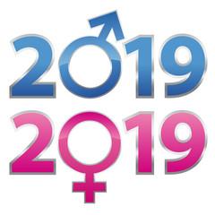 carte de vœux 2019, avec les symboles de genre de l'homme et de la femme et la lutte pour l'égalité.