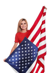 Portrait of woman with American flag on white background