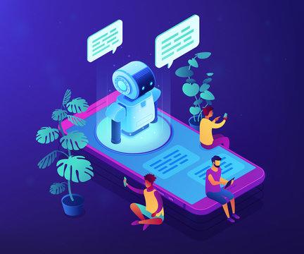 Messenger chatbot concept vector isometric illustration.