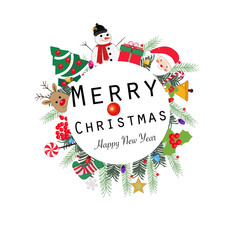 ''Merry Christmas and happy new year'' text wreath round frame. Happy new year greeting colorful light bulb, snow man