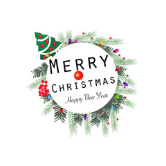 ''Merry Christmas and happy new year'' text wreath round frame. Happy new year greeting colorful light bulb