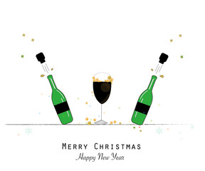 Green champagne bottle and glasses. Happy new year and merry christmas greeting card