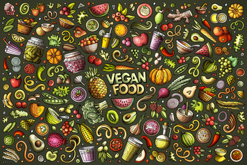 Vector set of Vegan food objects and symbols