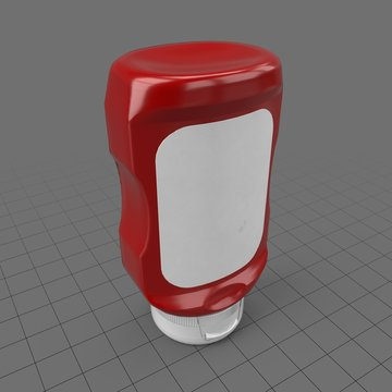 Wide ketchup bottle with label