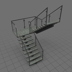 C-shaped industrial staircase