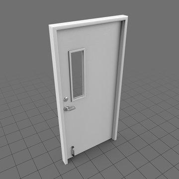 Closed door with narrow window panel