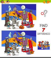 differences game with funny Halloween characters