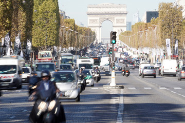 PARIS, FRANCE - OCTOBER 5 2018 -  Paris street congested traffic