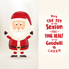 Cheerful, cute, smiling Santa Claus illustration waving and standing behind a signboard with replaceable text
