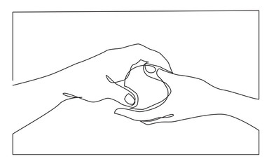 continuous line drawing of hands giving apple