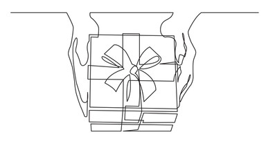 continuous line drawing of hand hands giving gift box