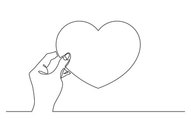 continuous line drawing of hand holding heart symbol