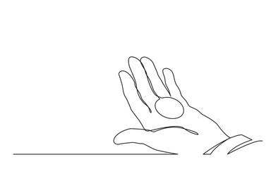 continuous line drawing of hand holding money coin