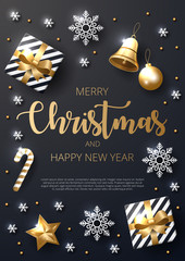 Merry Christmas background with shining gold and white ornaments. Made of snowflakes, gift, candy, bells, star, christmas ball. Vector illustration
