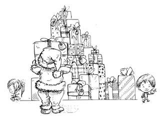 kerstman maakt grote stapel cadeaus