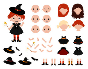 Adorable little witch constructor. Halloween costumes. Vector.