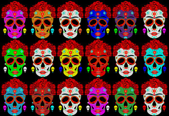 Mexican skull, Calavera with flowers. Decoration for Day of the Dead, Dia de los Muertos. Halloween poster background, greeting card or t-shirt design. Frida style. Set vector skulls black background