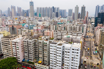 Drone fly over Hong Kong residential building