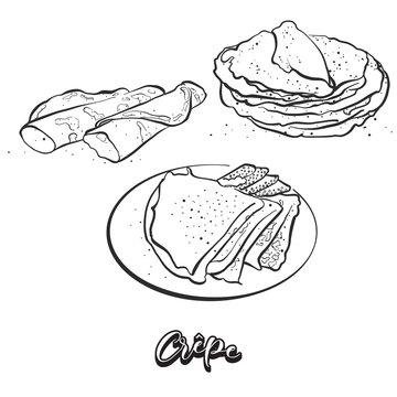 Hand drawn sketch of Crêpes