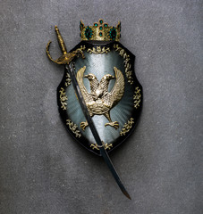 ancient royal shield on a gray background