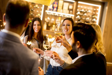 Young people toasting with white wine