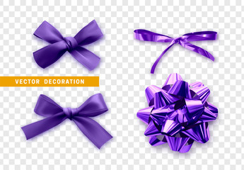 Purple bows ribbon on transparent background. Bow isolated realistic decorations of satin material and fabric.