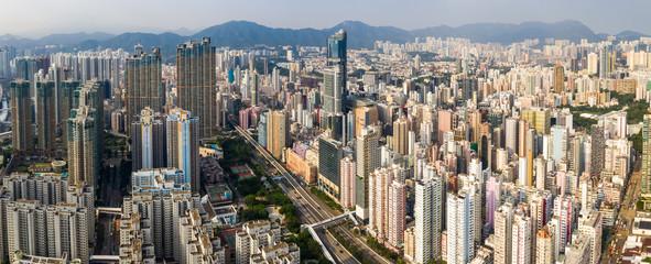 Hong Kong city under sunset