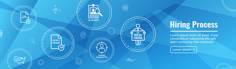 New Employee Hiring Process icon set and Web Header Banner