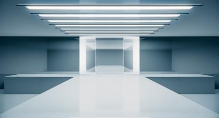 Empty futuristic interior. Fashion podium. Catwalk runway stage. Elegance pedestal platform. 3D Rendering.