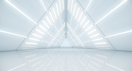 Abstract Triangle Spaceship corridor. Futuristic tunnel with light. Future interior background, business, sci-fi science concept. 3d rendering Fototapete