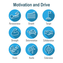Persistence icon set with image of extreme motivation and drive set on persevering