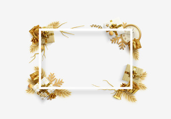 christmas frame border banner happy new year greeting card web poster background holiday