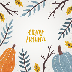 Cute autumn frame. Vector hand drawn illustration and lettering
