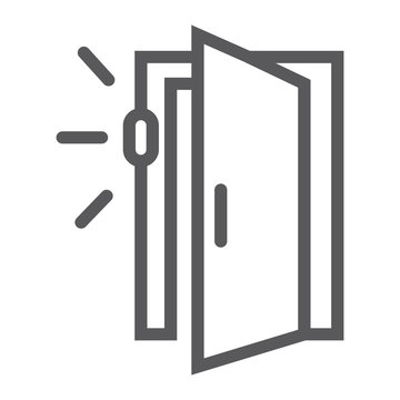 Door sensor line icon, access and security, automatic door sign, vector graphics, a linear pattern on a white background.