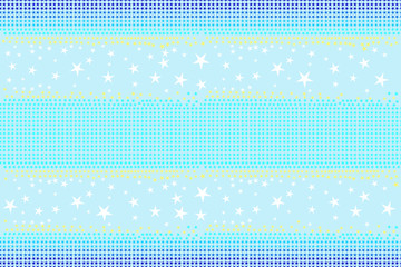 Seamless pattern of stars shapes in blue, white, yellow colors on light sky blue background, pastel color. Flat design vector illustration, EPS10, for wallpaper, gift wrap paper, tile print, etc.