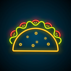 Traditional mexican snack food taco neon sign. Tasty beef or chicken meat, salad, tomato in delicious glowing light tacos isolated. Vector illustration for cafe nightlife advertising template