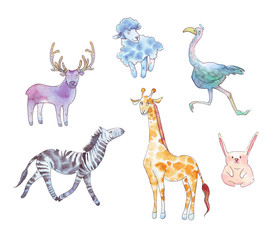 Set of animals watercolor illustration