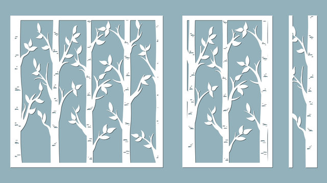 Birch Grove background. Vector birch or aspen trees with leaves. Pattern suitable for laser cutting or print. Template for plotter and screen printing. serigraphy.