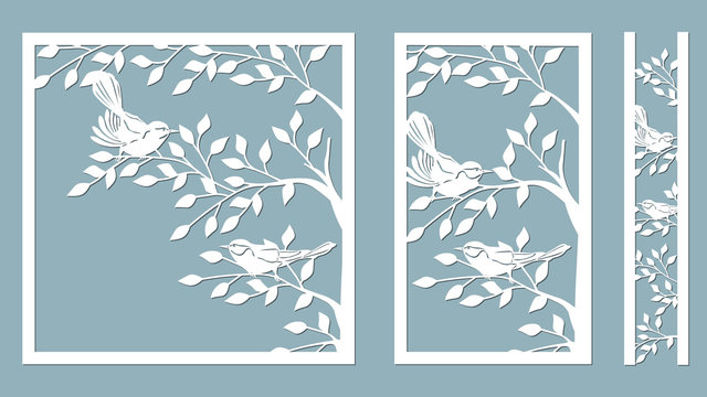 branch birches. Linden. Bird on the cherry branch. Graphic vector decorative elements. Template suitable for laser cutting. Template for plotter and screen printing. serigraphy