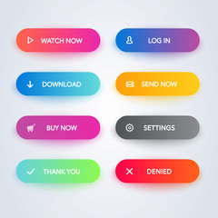 Set of vector modern material style buttons. Different gradient colors and icons with shadows.