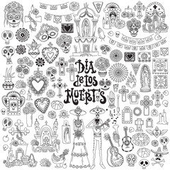 Dia de los muertos. Day of the dead festival doodles set. Traditional mexican symbols - skulls, altars, crosses, decorated graves, marigold flower, candles, folk art and crafts.