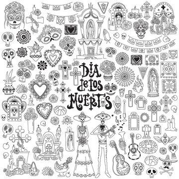 Dia de los muertos. Day of the dead festival doodles set. Traditional mexican symbols - skulls, altars, crosses, decorated graves, marigold flower, candles, folk art and crafts.