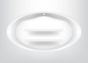 Mock up Realistic Empty Oval Shelf for interior to Show Product with light and shadow background illustration
