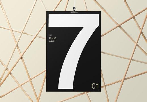 Maquetas de marco de póster de madera contemporáneo