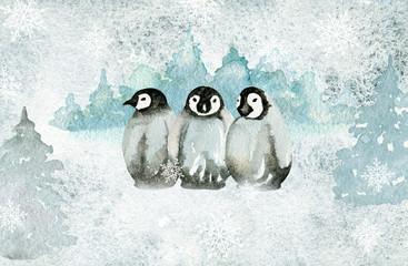 Greeting card. Watercolor texture. Cute penguins