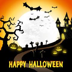 Happy halloween vector poster, background, halloween party festive banner