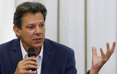 Haddad, presidential candidate of Brazil's leftist Workers' Party (PT), attends a news conference in Curitiba