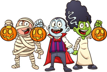 Cute cartoon Halloween kids trick or treating. Vector illustration with simple gradients. Each on a separate layer.